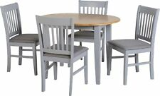 Oxford Extending Dining Set - Grey Natural Oak With 4 Mink Chairs Furniture