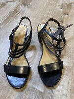 Coclico Womens black leather Wedge Sandals NWOB Size 39 Strappy