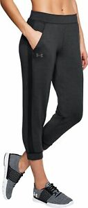 Under Armour Featherweight Fleece Womens Joggers Black Cropped Training Pants UA