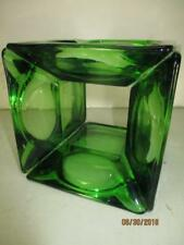 "Vtg (4) Emerald/Forest Green Square Glass Ashtrays 4-3/4"" Glued Together RARE!"