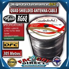 Foxtel Aprroved RG6 305m Quad Shield 75 OHM COAX DIGITAL TV Antenna Cable