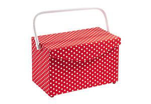 Nähkästchen rechteckig rot weiß gepunktet Kunststoff und Textil mit Henkel
