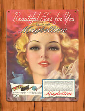 "TIN SIGN ""Maybelline Eyes"" Makeup Retro Beautiful Ad Sign Wall Decor"