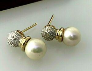 William Lam & Co WLC 14k Pearl & Diamond Stud Earrings Missing Butterfly Closer
