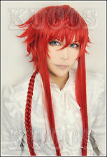 646 Kamigami no Asobi Loki Leviathan Roki 100cm long braided red cosplay wig