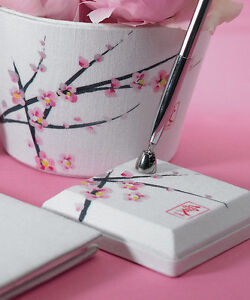 Cherry Blossom Linen Base Silver-tone Wedding Pen Set