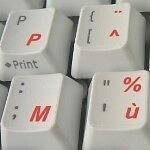 FRENCH AZERTY TRANSPARENT KEYBOARD STICKERS RED