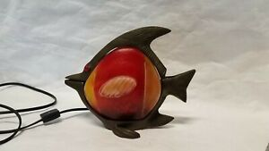 MID CENTURY MODERN STYLE SCULPTURAL BRASS FISH STAINED GLASS LAMP.