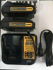 Dewalt Dcb207 20V 20 Volt Li-Ion 2 Battery packs Dcb107 Charger New Oem