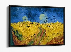 VAN GOGH WHEATFIELD WITH CROWS -FLOAT EFFECT CANVAS WALL ART PIC PRINT- BLUE