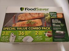 """FoodSaver Special Value Vacuum Seal Combo Pack 8"""" & 11"""" Rolls 36 Pre-Cut Qt Bags"""