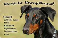 DOBERMANN - A4 Metall Warnschild SCHILD Hundeschild Alu Türschild - DBM 04 T13