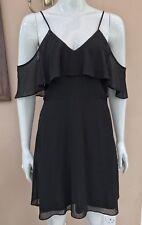 BNWT River Island Mesh Dress Size 10 Bardot Cold Shoulder Strappy Dot Spot Frill