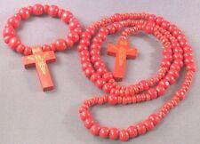 Rosary Wood Bead Gold Imprint Crucifix BONUS Bracelet Rosary RED Wow!