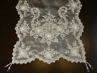 White Handmade Beaded Pearl Sheer Victorian Wedding Decor Table Runner Placemats