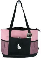 White Bunny Rabbit Monogram Bag Pink Gemline Zip Tote Easter Rabbitry Pet Gift