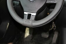 """New 14.5"""" Black & Grey Strip Steering Wheel Cover Wrap PVC Leather 47014 Sew On"""
