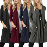 Women Ladies Plain Long Cardigan Jacket Coat Open Front Casual Loose Top Outwear