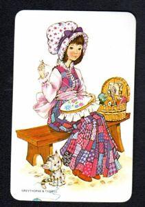 Vintage Swap Card - Pretty Girl Doing Cross Stitch  (BLANK BACK)