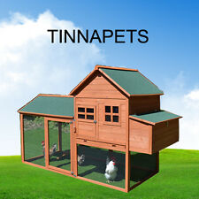 Chicken Coop 2.2M XLarge Rabbit Guinea Pig Hutch Ferret House With Egg Cage P054