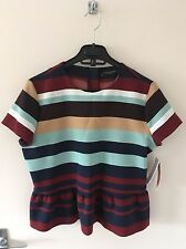 Zara Waist Length Crew Neck Striped Tops & Shirts for Women