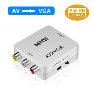 AV RCA CVBS to VGA Composite Video Audio Converter 1080P HD Mini Adapter HDTV