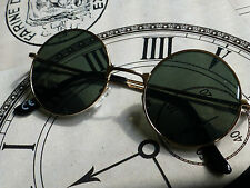 STEAMPUNK BROWN LENSE GOLD FRAME ROUND SUNGLASSES VAMPIRE/GOTH/DRACULA/WHITBY
