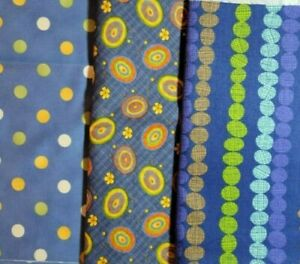 100% Cotton Fabric - Lot of 3 fabrics. Circles and Spots. Novelty material