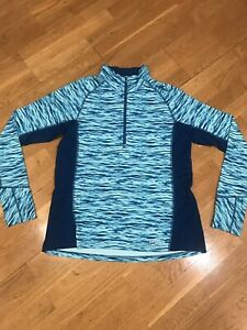 Women's PATAGONIA 1/4 Zip Running Top/Shirt, Long Sleeve, Teal, size Large EUC