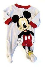 New Disney Baby Mickey Mouse Boys Tan Sleeper Footie Newborn Zipper Cotton