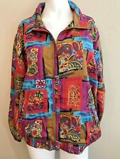 Women's Size Large Colorful Jacket Bright Floral Paisley Vintage Fashion EVR