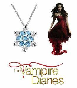 The Vampire Diaries Elena Gilbert 'Snowflake' Azure Blue Silver Chain & Pendant
