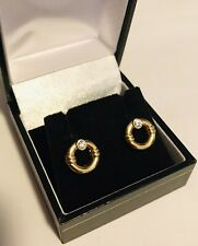 Shaped with White Sapphires Earrings. Pretty Vintage 1960's 18K Gold Circular