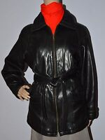 $700 Wilsons Leather Lamb Belted Hipster Womens Jacket Thinsulate Liner S Black
