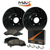 [REAR] [ELITE BLACK] Slotted & Drilled Rotors with Ceramic Pads & Hardware Kit