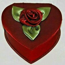 Vintage Red Rose Heart Jewellery Box With A Mirror And Jewellery Compartments