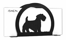 SWEN Products SEALYHAM TERRIER Dog Black Metal Letter Napkin Card Holder