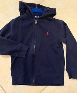 EUC POLO Ralph Lauren Unisex Boys Girls Zip-up Logo Hoodie Sweatshirt, Sz 6