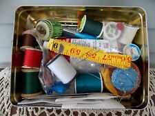 Vintage Oreo Tin Container Box with Assorted Sewing Notions Pin Cushion Thread