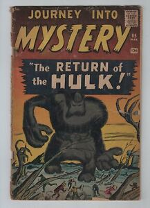 Pre-Hero Marvel 1961 JOURNEY INTO MYSTERY No. 66 Hulk Prototype Issue GD+ 2.5