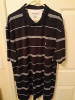 NWOT Mens Nautica Blue Striped Short Sleeve Golf Polo Shirt Size 3XL