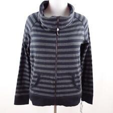 Calvin Klein Striped Zip Front Cowl Neck Sweatshirt Womens Sz XL New