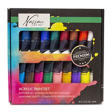 Nassau Great High Quality Fine Art Acrylic Paint Set 18 Vibrant Colours Artists