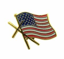 Gold Tone and Enamel American Flag with Cross Lapel Pin, 1/2 Inch