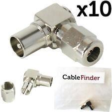 10x conector macho aéreo de TV en ángulo recto -90 Grados Adaptador de extremo RF Coaxial Plug