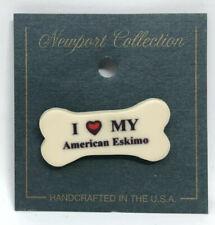Vintage Dog Bone Pin: I Love My American Eskimo   Made In Usa   Hat Backpack