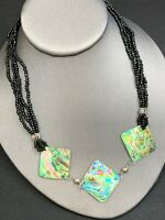 Nice Bohemian necklace Abalone Shell Black  Seed Bead Chain Statement necklace