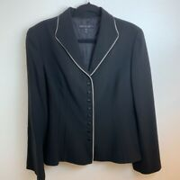 Lafayette 148 New York Womens Blazer Jacket Black Multi Button Up Fitted10