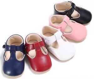Newborn Baby Boy Girl T-Bar Crib Shoes Toddler Pre Walker Soft First Shoes 0-18M