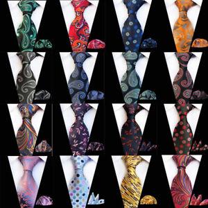 Men Business Necktie Handkerchief Paisley Striped Jacquard Pocket Square Tie Set